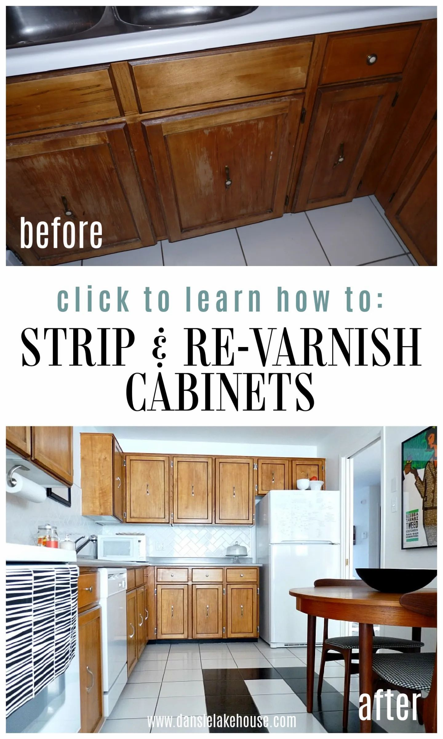How To Re Varnish Cabinets Dans Le Lakehouse In 2021 Update Kitchen Cabinets Without Painting How To Update Kitchen Cabinets Furniture Makeover