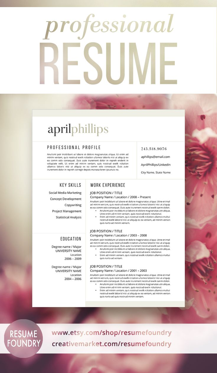 Modern resume template for word 1 3 page resume cover letter modern resume template for word 1 3 page resume cover letter reference page us letter instant download april madrichimfo Choice Image
