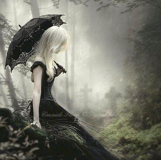 Anime Girl With Umbrellas In Rain Wallpaper Dama De Negro Dark And Light Imagens G 243 Ticas Bruxas