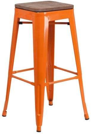 Astounding Flash Furniture 30 High Backless Orange Metal Barstool With Camellatalisay Diy Chair Ideas Camellatalisaycom