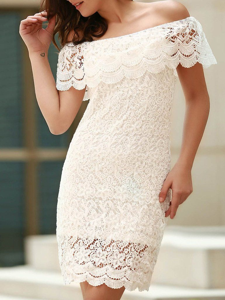 White off the shoulder flounce ruffles boat neck lace dress boat