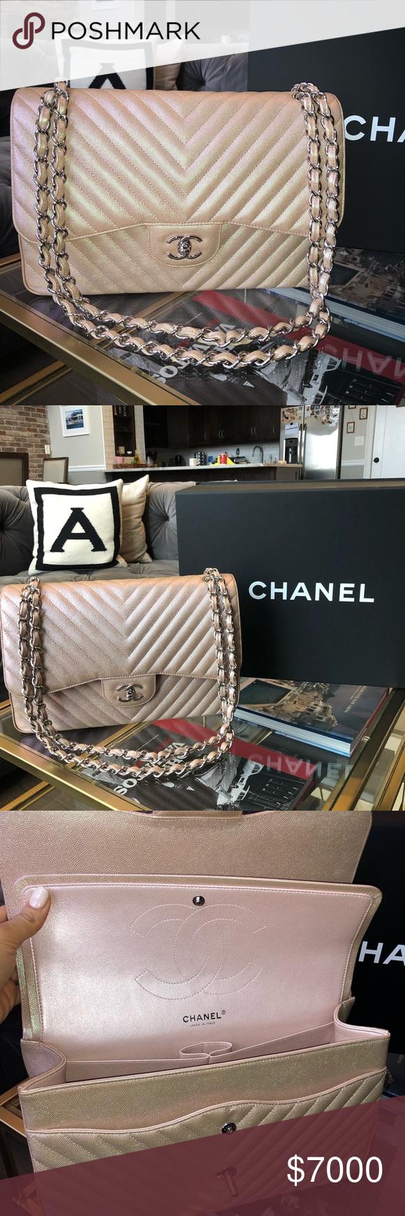 5fb941aee96d Chanel Iridescent light rose gold Chevron Jumbo NIB CHANEL 2017 17B LIGHT  IRIDESCENT ROSE GOLD CAVIAR