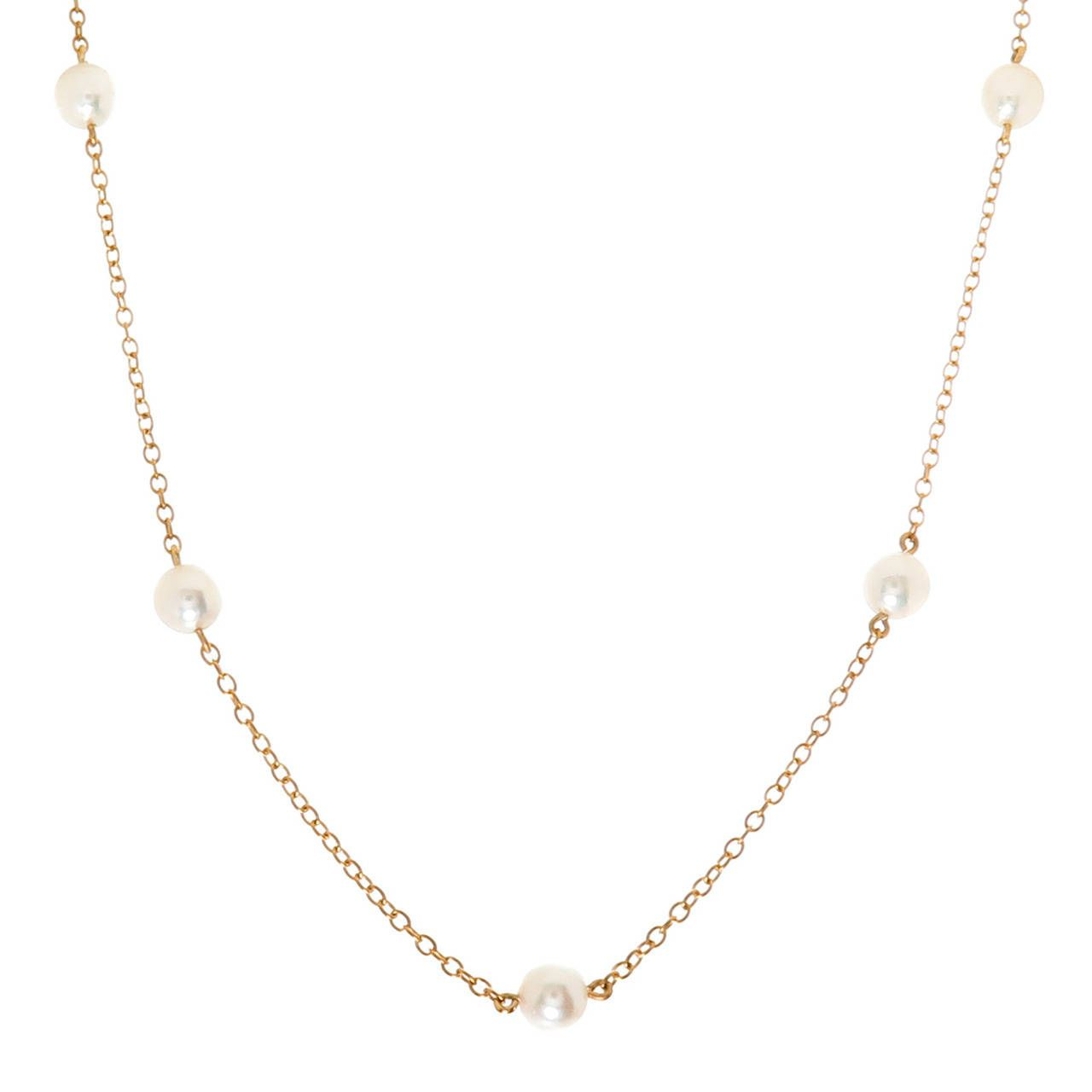 Elsa Peretti Pearls by the Yard sprinkle necklace of cultured pearls in silver - Size Tiffany & Co. KT8ekk7sO9