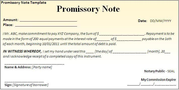 Fill In The Blank Promissory Note Check more at   - Blank Promissory Notes