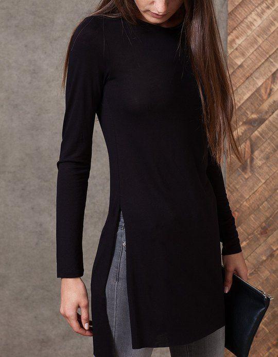 Camiseta extra larga - CAMISETAS - MUJER | Stradivarius Colombia | outfit | Pinterest ...