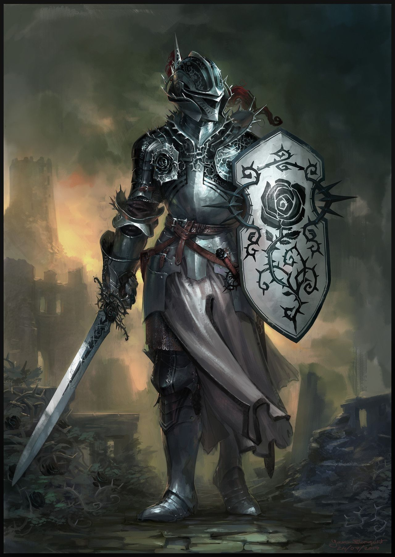 Paladin Ancients/Green | Character art, Knight, Fantasy warrior