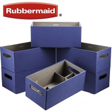 Perfect 6 Rubbermaid Medium Blue Bento Storage Boxes W/ Flex Dividers!