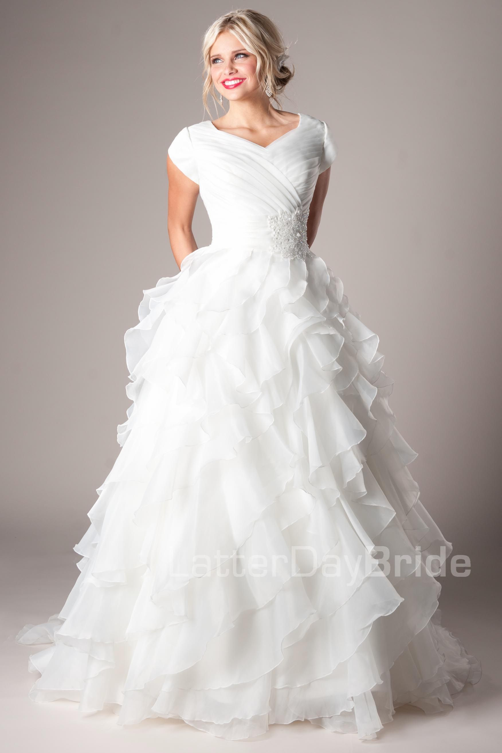 Casanova modest wedding dress latter day bride prom for Modest ball gown wedding dresses