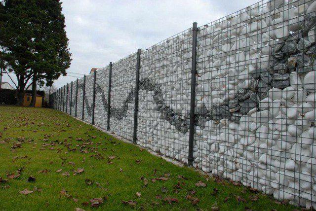 Mur Gabion Avec Dessin De Motifs Cloture Jardin Cloture Gabion