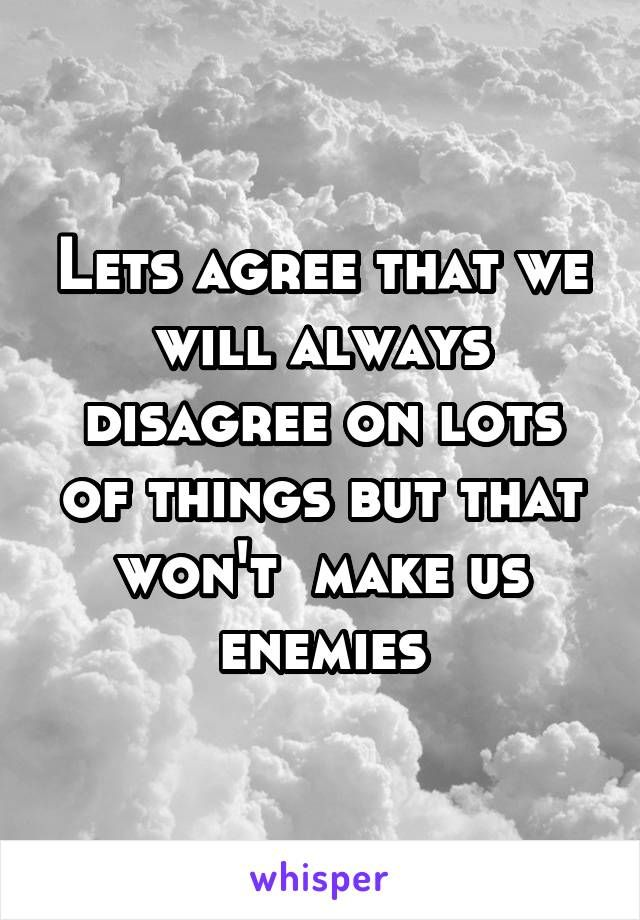 Lets agree that we will always disagree on lots of things but that won't  make us enemies