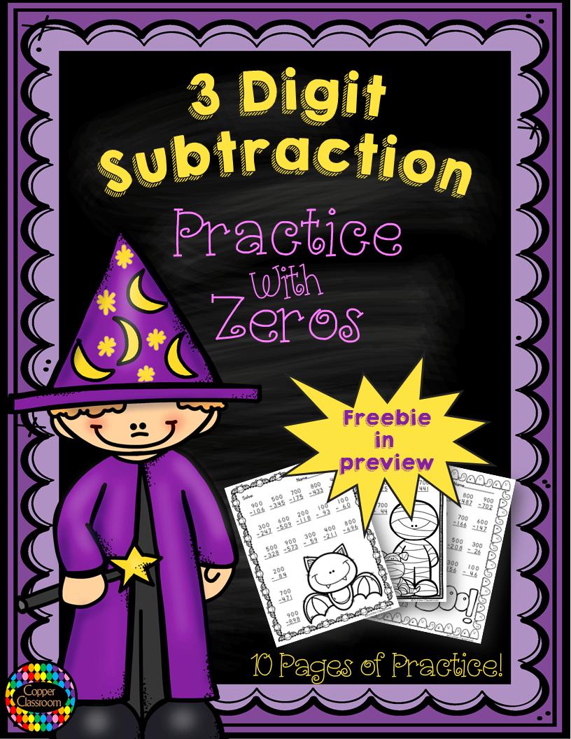 3 Digit Subtraction Across ZerosHalloween Themed