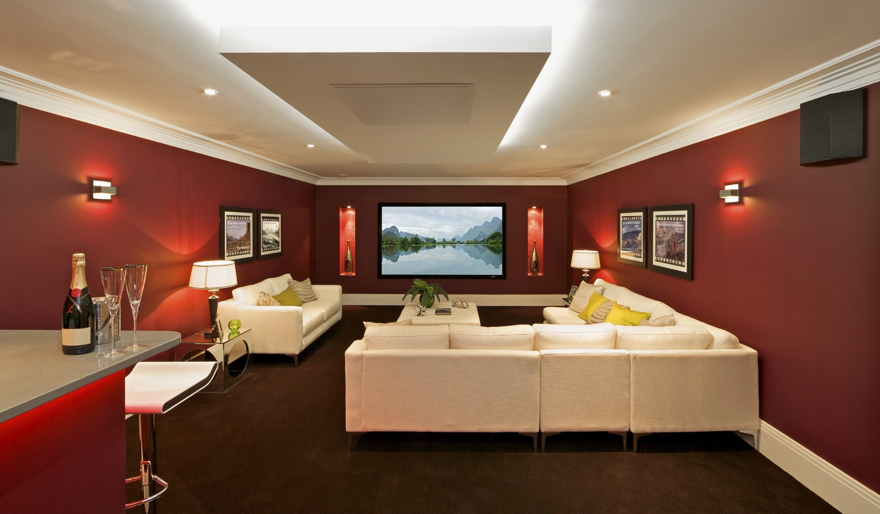 Basement entertainment room - Find This Pin And More On Decorating Appealing Movie Theater Room