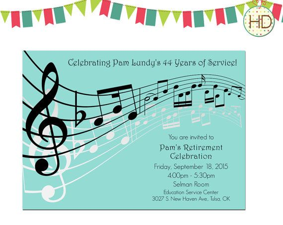 Grey Music Notes Invitation Musical Party Sheet