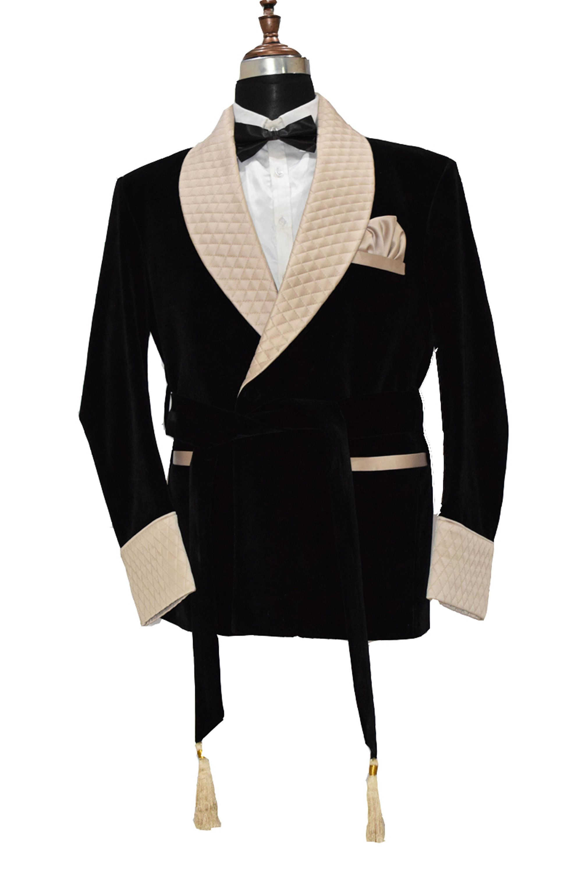 Image result for Men Black Smoking Jackets Designer Wedding Belted Party Wear Coats
