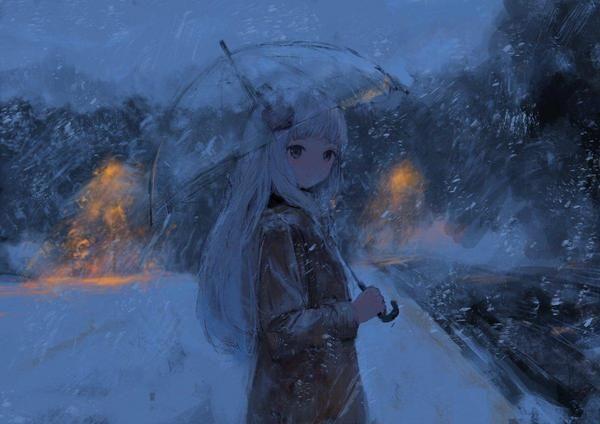 Fille Parapluie Neige Dessin As4kla Manga Obrazeczki