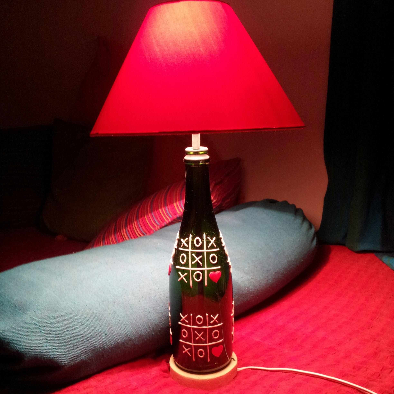 A handcrafted upcycled wine bottle poem lamp apt for for Lamp light poem