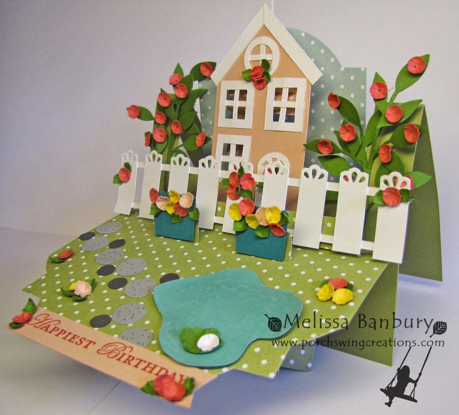 Spring Cottage Shelf Card Faire part bapteme, Carte 3d