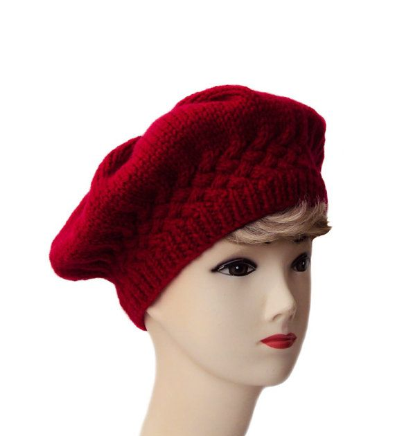 Red Beret Cable Knit Women s Hat Edwardian Style by SueMaun  www.etsy.com shop SueMaun 0c24538d7da