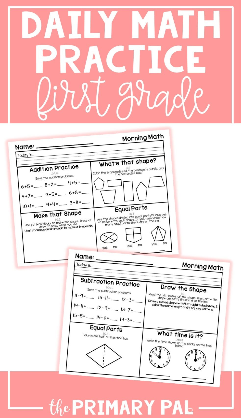 First Grade Daily Math Practice Set 5 Math Workshop Pinterest
