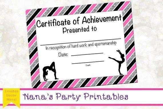Gymnastics Award Gymnastics Certificate Printable Gymnastics