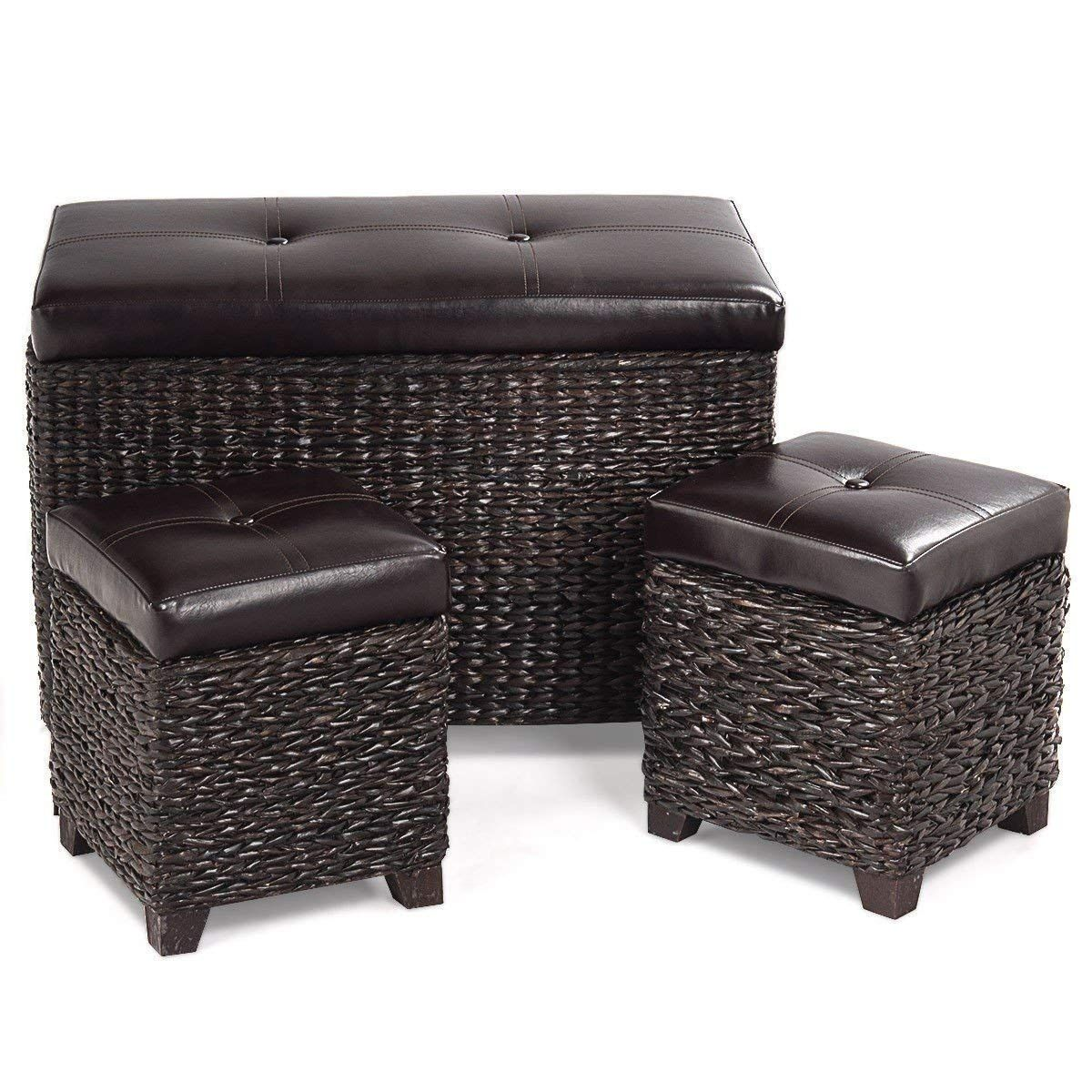Beuniquetoday 3 Pcs Rattan Seating Storage Bench Hassocks Leather Ottoman Stools Home Set Bedside Box Multi Usage Leather Ottoman Rattan Ottoman Ottoman Set