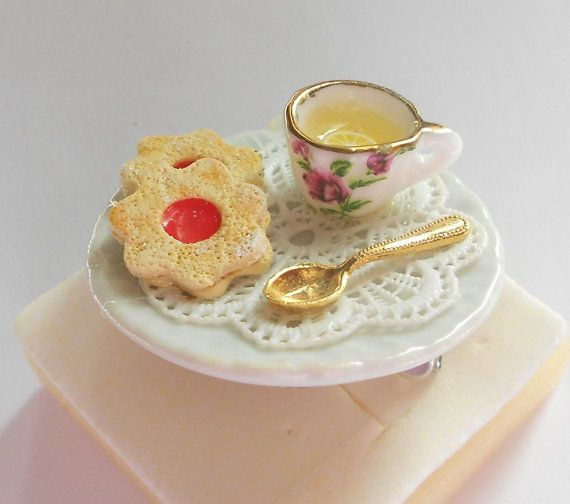 Tea time ring gold Alice in wonderland OOAK by kimonoscuro on Etsy