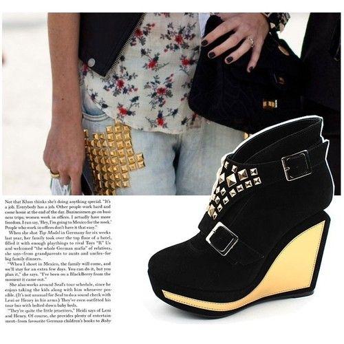 37ac8ac05e45 SHOESONE Korean womens HyunA unique gold stud high heels platform wedges  shoes