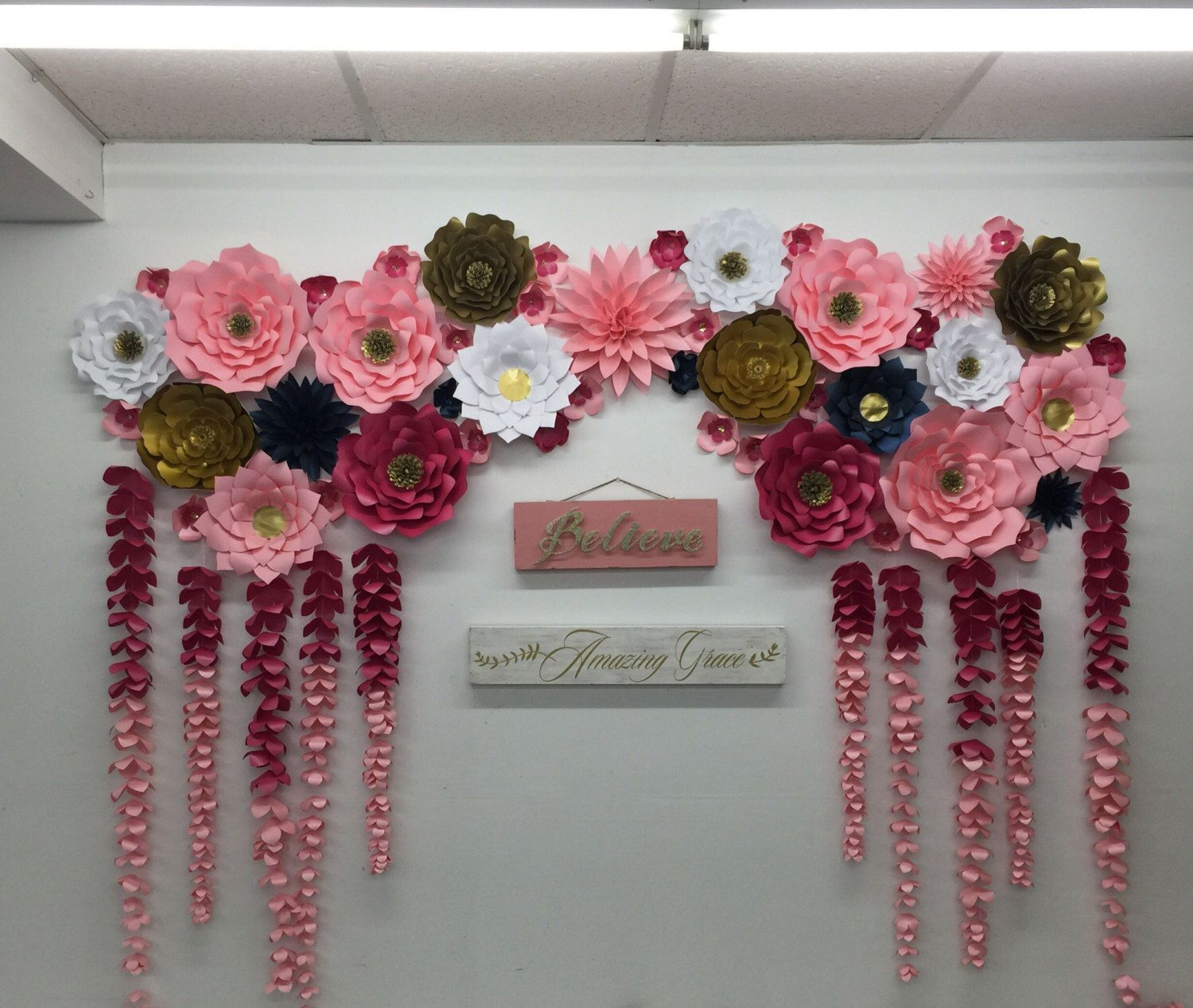 Large paper flowers backdrop wedding arch photo booth flower wall large paper flowers backdrop wedding arch photo booth flower wall birthday pary nursery art custom bridal shower princess ready to ship mightylinksfo