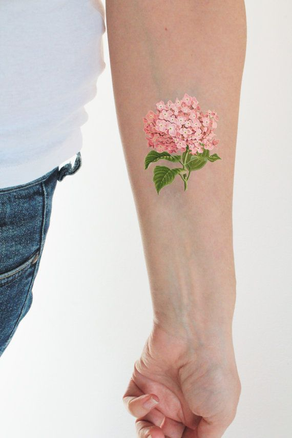Floral Vintage Temporary Tattoo Colorful Temporary Tattoo Flower Temporary Tattoo Vintage Hydrangea Tatt Hydrangea Tattoo Vintage Tattoo Body Art Tattoos