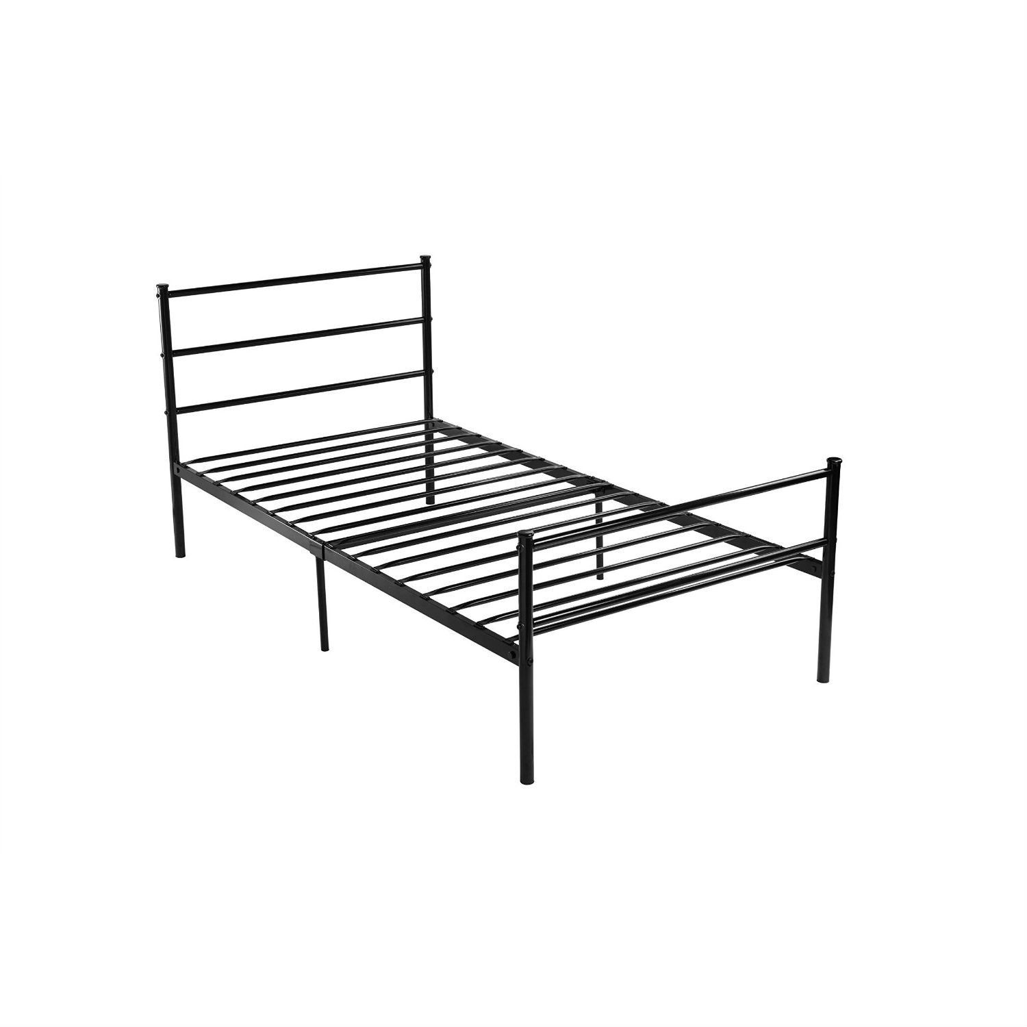 Twin Size Black Metal Platform Bed Frame With Headboard And