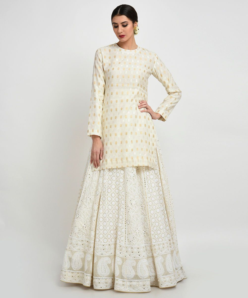 d290eba11d White Banarasi kurta with Chikankari lehenga skirt from Talking Threads.  Click on image for price. #Frugal2Fab