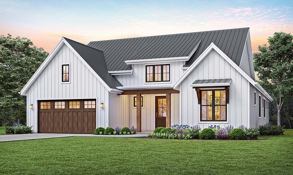 Farmhouse Style House Plan 81205 with 3 Bed, 2 Bath, 2 Car Garage