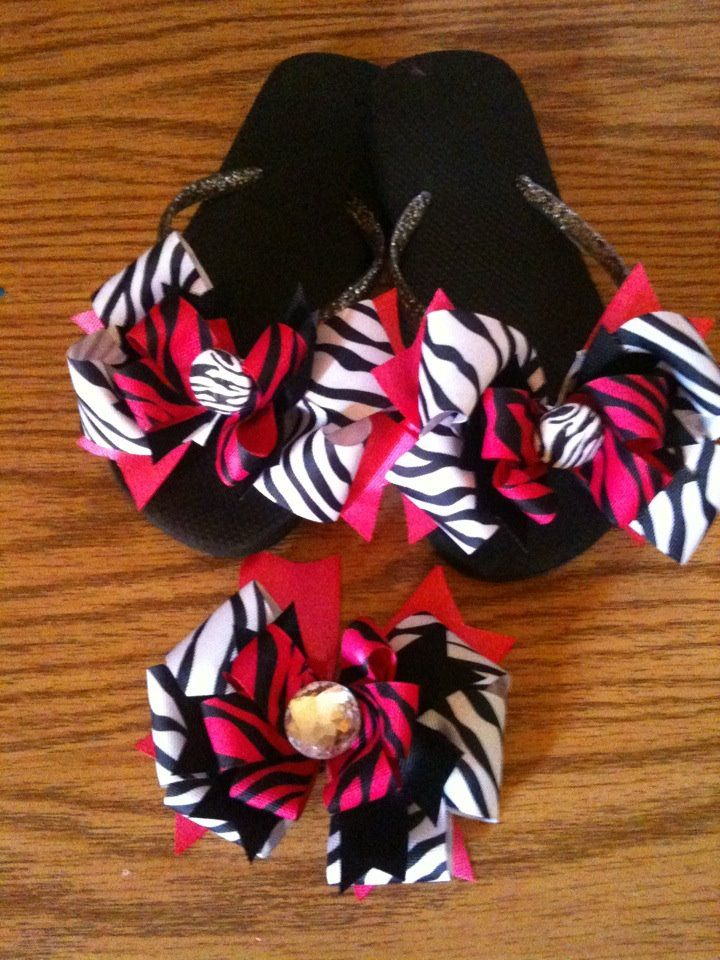 5896bede0 Removable flip flop bows and matching hair bow! by Button-Up Bows ...