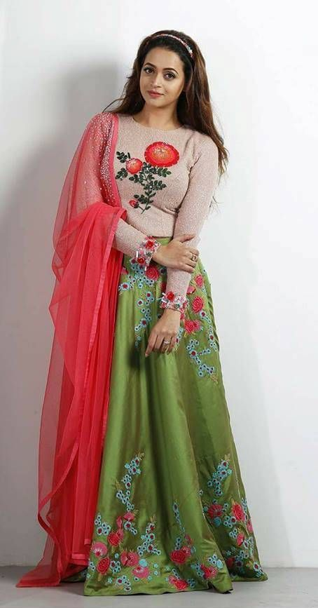 6f7e5b0d6fa045 Bhavana in sequin detailed green skirt toped with nude crop top .  pranaah