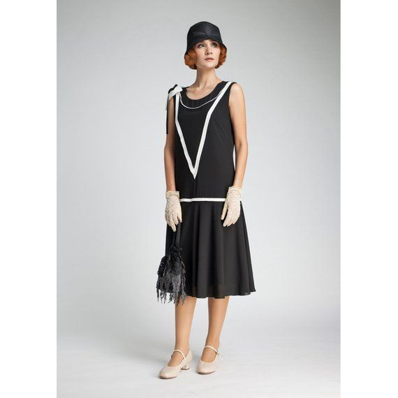 1920s Dress In Back And Off White Great Gatsby Black