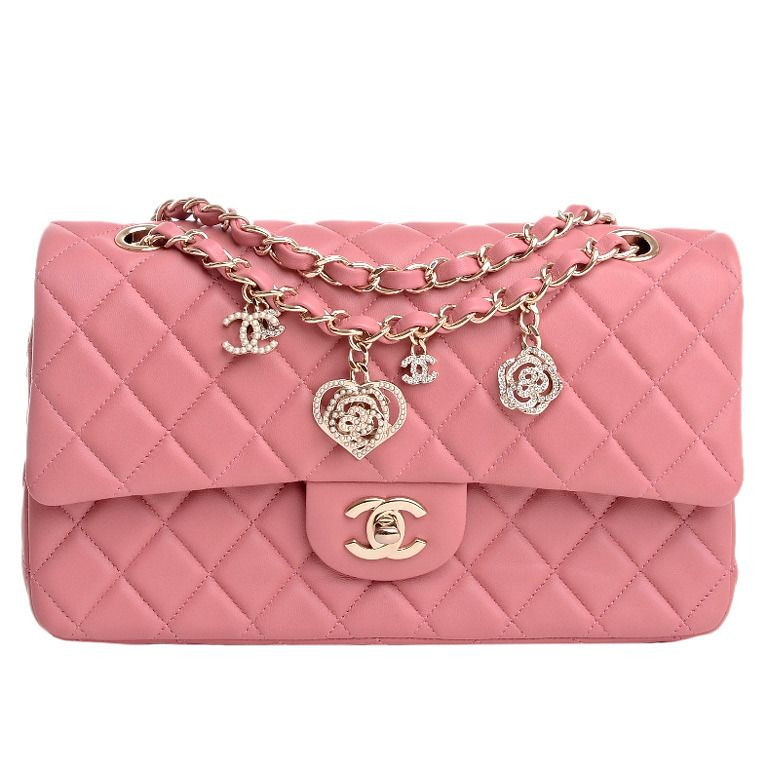 53a76688a5f76d Chanel Limited Edition Pink Quilted Valentine Charm Flap Bag | From a  collection of rare vintage
