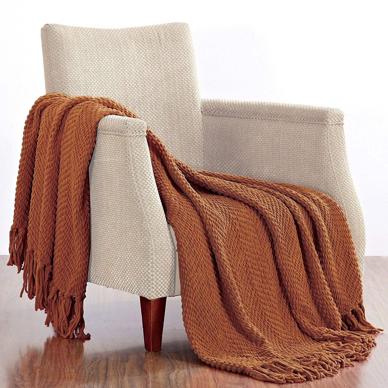 Throw Blankets For Couches Fascinating Boon Knitted Tweed Throw Couch Cover Blanket 50 X 60 Rust  Throw Design Inspiration