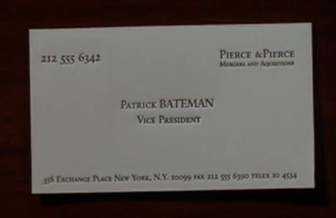 American Psycho Patrick Bateman Business Card Work Cards