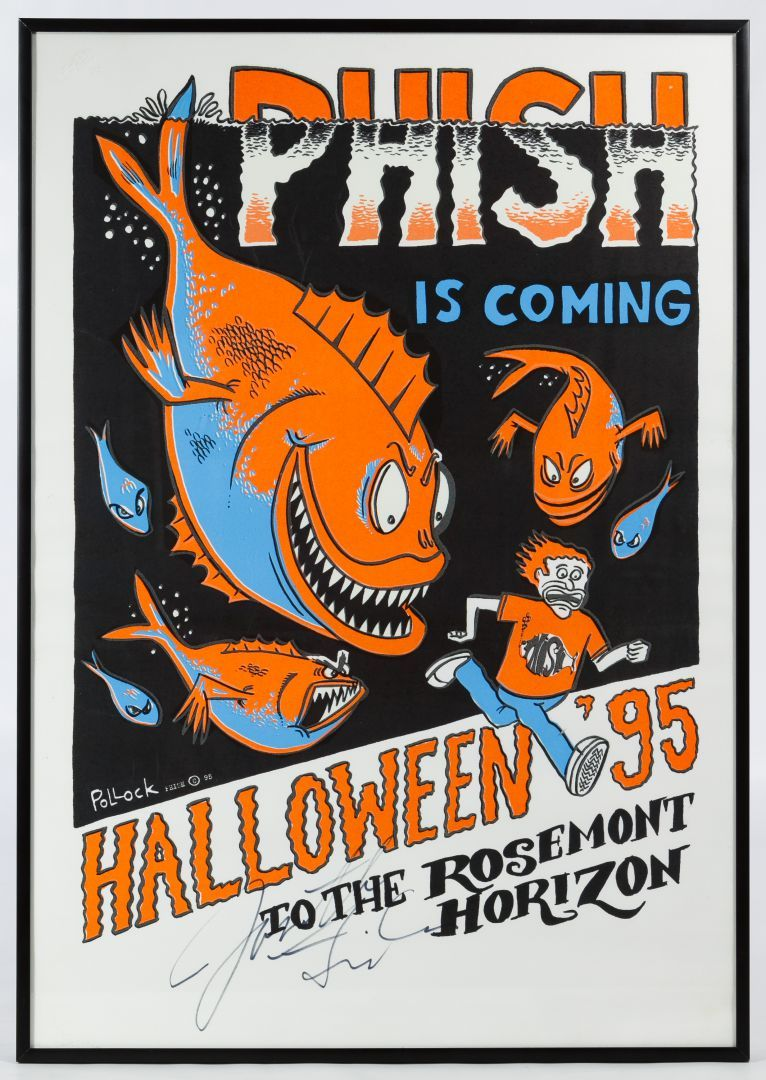 """Lot 170: Jim Pollock (American, 20th Century) """"Phish - Halloween"""" Signed Poster; 1995, labeled """"Phish is coming Halloween '95 To The Rosemont Horizon"""", signed in black marker by Jon Fishman (drummer); glows under black light"""