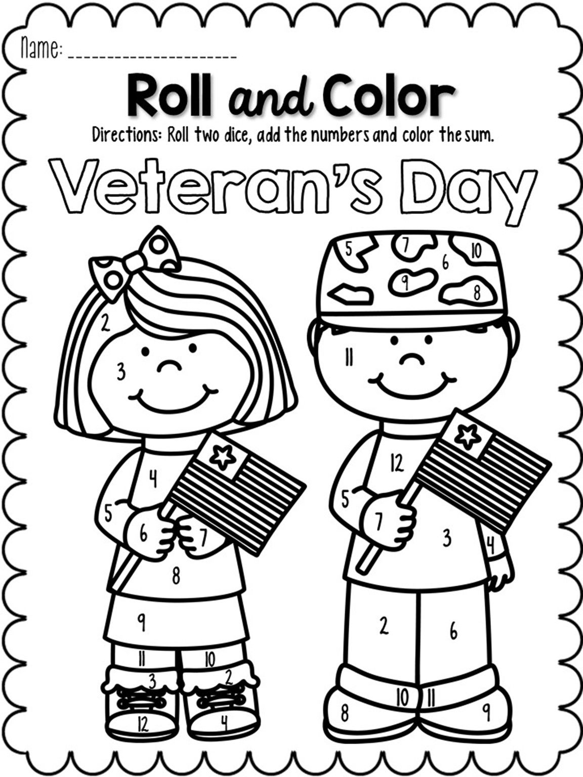 November Roll and Color: Perfect for Veteran's Day!   Math worksheets [ 1536 x 1152 Pixel ]