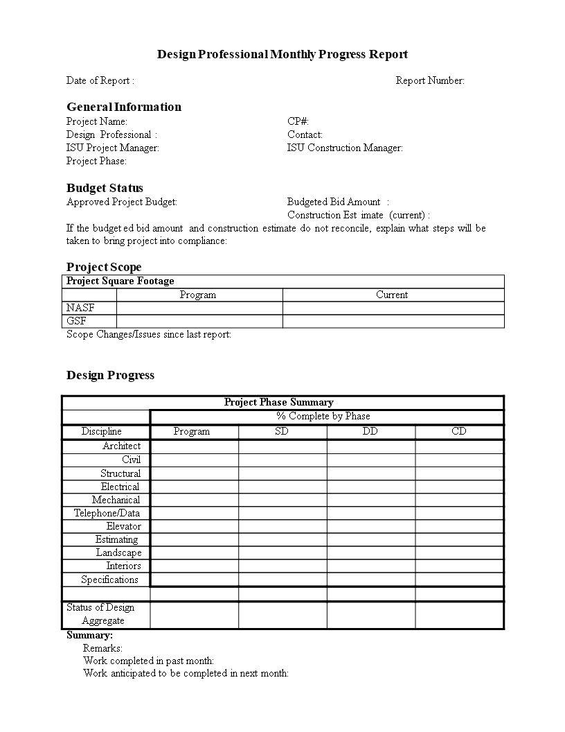 Monthly Progress Report In Word In 2020 Progress Report Template