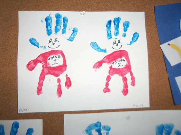 Thing 1 thing 2 handprint craft perfect for dr seuss for Dr seuss crafts for preschool