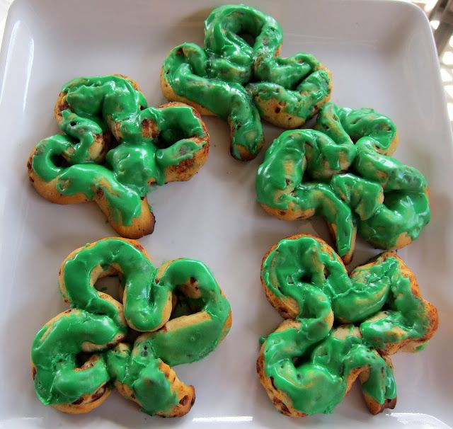 unravel refrigerated cinnamon rolls, shape into shamrocks, and add ...