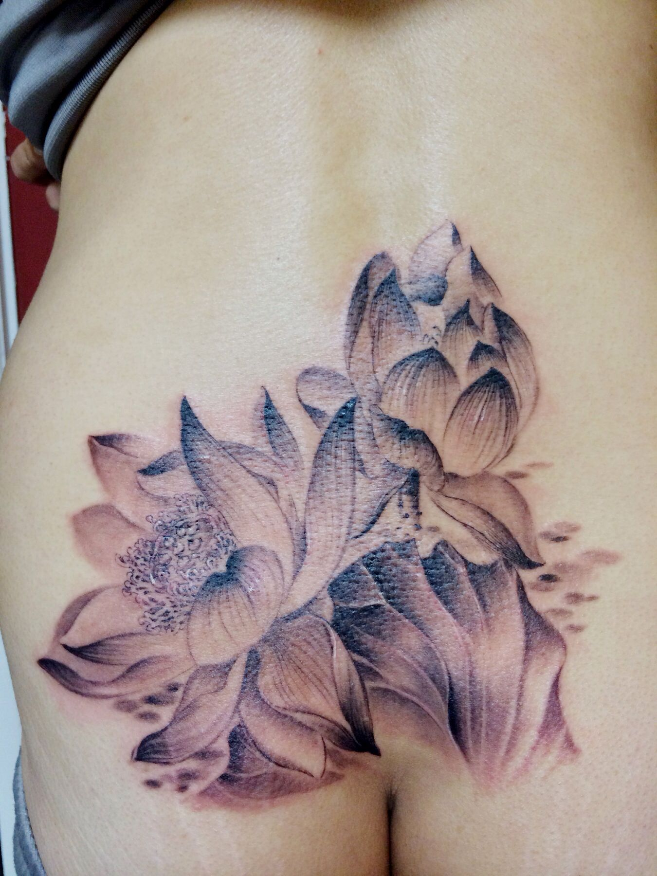 Watercolor black and gray chinese style lotus tattoo on ...
