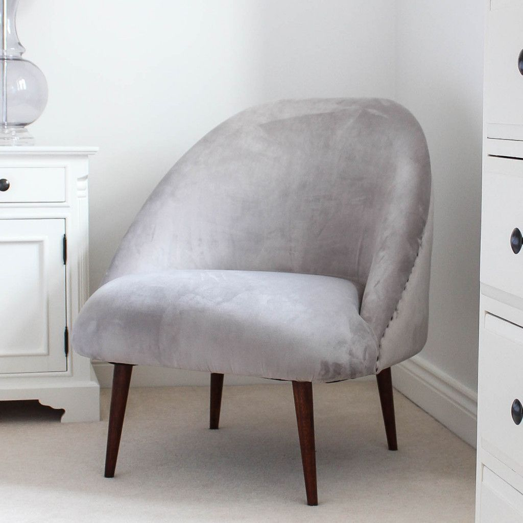 Grey velvet tub chair grey chair bedroom bedroom chair