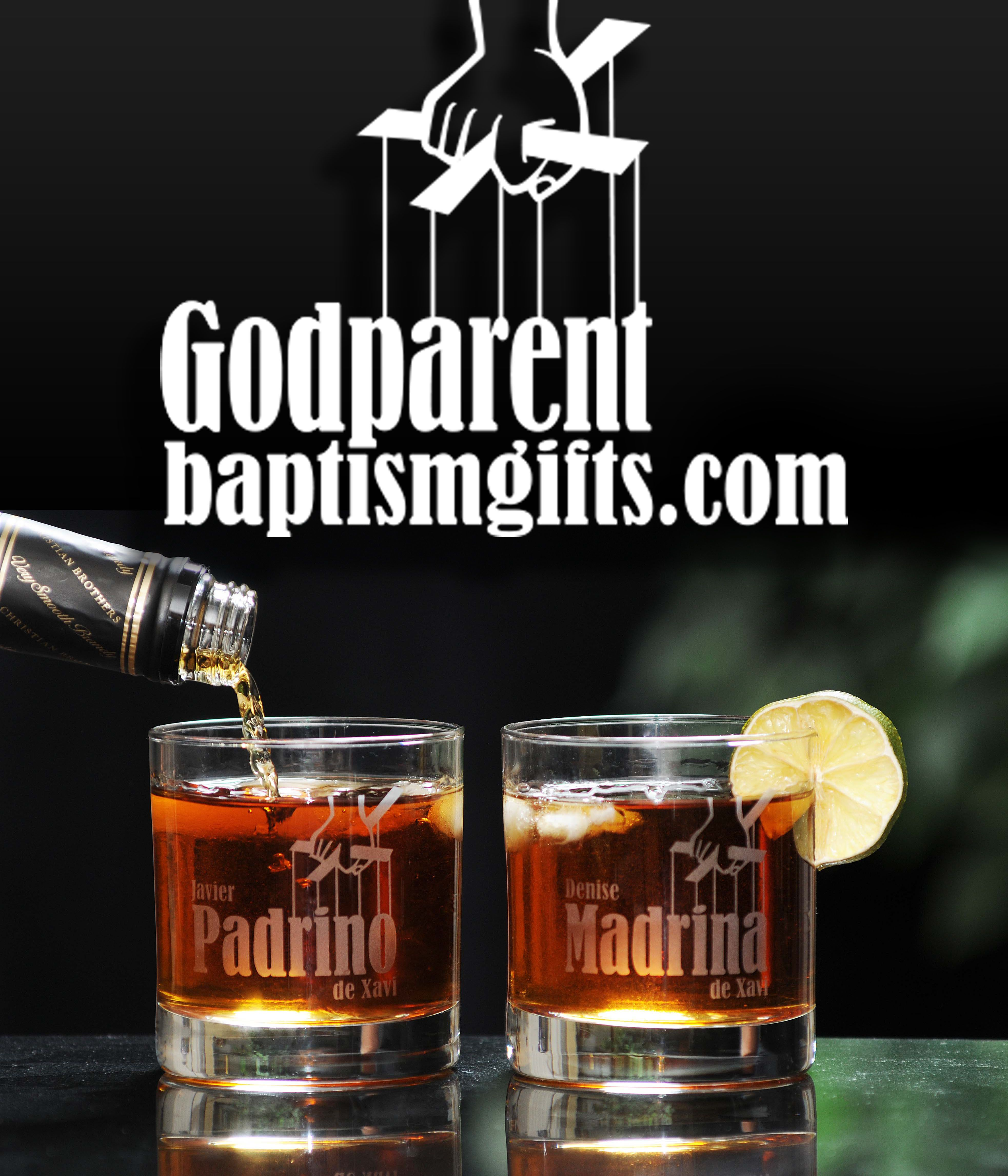 Personalized whiskey glasses for godparents will you be my personalized whiskey glasses for godparents will you be my godparent baptism gift http negle Gallery