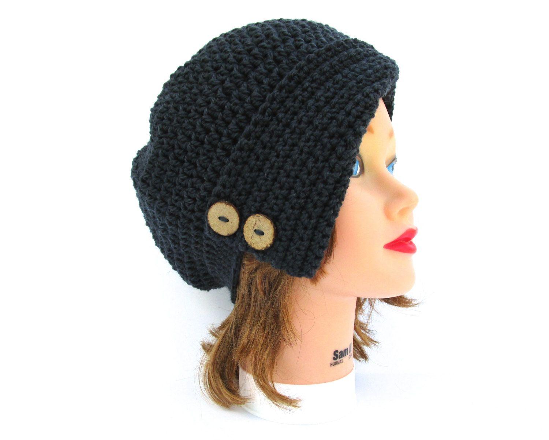 Mercury Cloche - Women's Cloche - Crochet Hat Women's Hat - Flapper Hat - Wool Headwear - 1920s Cloche Hat with Buttons - Faded Black Beanie by BettyMarieJones on Etsy