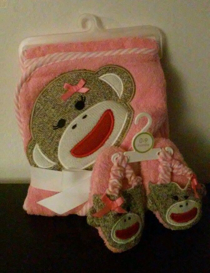 Infant 3pc Hooded Bath Set Towel Slipper Pink Girls Animal Monkey ...