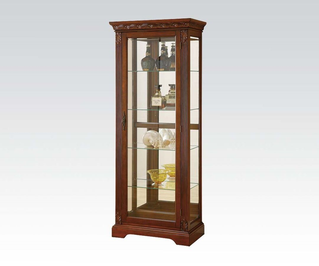 Acme Furniture Addy Cherry Curio Cabinet With Light Fur Glass