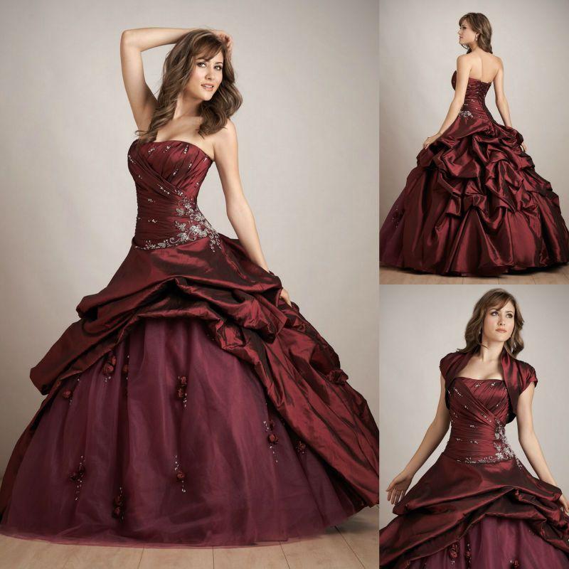 Resultado de imagen para vestidos de xv años color vino